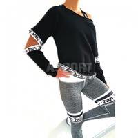 Bluza damska z rozcięciami, na fitness, do tańca STRONGER czarna 2skin