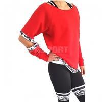 Bluza damska z rozcięciami, na fitness, do tańca STRONGER czerwona 2skin