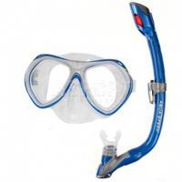 Fajka + maska nurkowa dla dzieci AURA + EVO niebieska Aqua-Speed