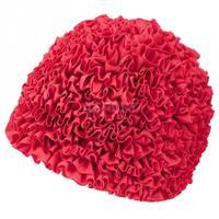 Czepek damski, poliestrowy, z podszewką RUFFLE CAP czerwony Aqua-Speed