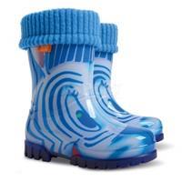 Kalosze dziecięce z wkładką ocieplającą TWISTER LUX PRINT zebra blue