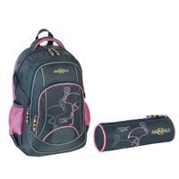 Plecak ANIMALS FLAMINGI + piórnik FLAMINGI szaro-różowy