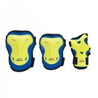 Zestaw ochraniaczy na kolana, łokcie, nadgarstki H716 niebiesko-limonkowe Nils