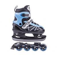 Łyżworolki + łyżwy, 2w1, regulowane, płoza hokejowa ZOOL niebieskie Spokey