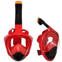 Maska nurkowa pełnotwarzowa z fajką S/M juniorska czerwono-czarna