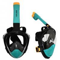 Maska nurkowa pełnotwarzowa z fajką S/M juniorska czarno-morska