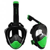 Maska nurkowa pełnotwarzowa z fajką l/xl czarno-zielona Sportvida